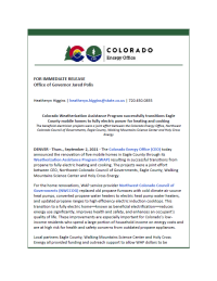 Colorado Energy Office announces completion of successful energy transition